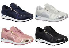 Womens Snake Skin Trainers Ladies Shoes Lace Up Sneakers Shiny Casual Comfort UK
