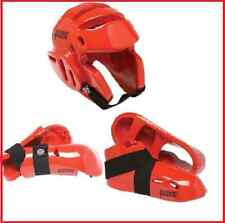 Proforce Sparring Gear Set Guards Karate Tkd Pads Head Helmet Hand Foot Red MMA