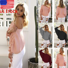 US Womens One Shoulder Long Batwing Sleeve Sweater Strappy Pullover Blouse Top
