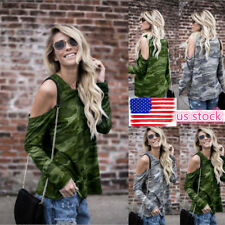 Women Off Shoulder Long Sleeve Tops Camouflage Loose Blouse T-Shirt Pullover Tee