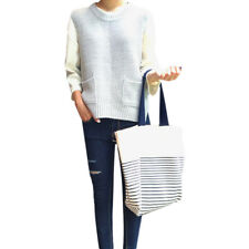 Unisex's Black Stripe Print Thick Canvas Tote Bag Shoulderbag Large Size White