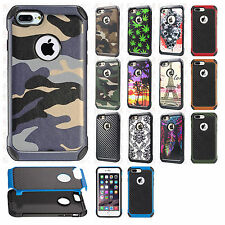 For Apple iPhone 8 & 8 PLUS Rubber IMPACT TRI HYBRID Skin Cover +Screen Guard