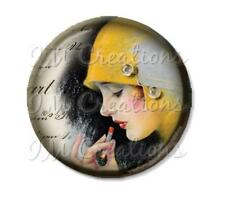 "Handmade 2.25"" Pocket Mirror, Magnet or Pin Vintage 1920's Touch Up Flapper"
