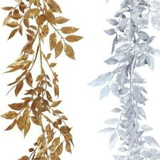 Artificial Glitter Leaf Garland - Gold / Silver - Luxury Christmas Decoration