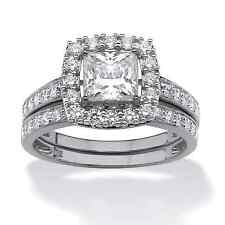 1.93 TCW Princess-Cut Cubic Zirconia Two-Piece Bridal Set in Platinum over