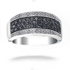 Sterling Silver 3/4ct TDW Black and White Diamond Band