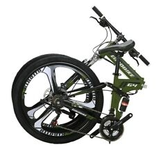 "Folding Mountain Bike 26"" 21 Speed Bicycle Full Suspension MTB Daul Disc Brakes"