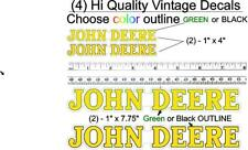 """4 Vintage John Deere 1"""" x 7.75 and .1/2"""" x 4"""" Stickers Decals Farm Tractor Gator"""