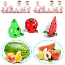 Children Developmental Baby Toy Kids Colorful Wooden Worm Eat Fruit Toy New