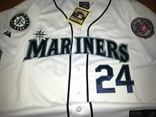 New! White Seattle Mariners #24 Ken Griffey Jr. Throwback w/2patches sewn Jersey