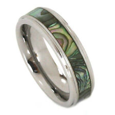 Abalone Inlay Ring 6mm Tungsten Carbide Step Bevel Comfort Fit Band Size 4