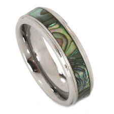 Abalone Inlay Ring 6mm Tungsten Carbide Step Bevel Comfort Fit Band Size 7