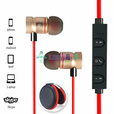 Red -KM56 Magnetic Bluetooth Handsfree Headset Earphone For Cell Phone Apple