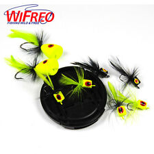 Wifreo 10pcs Popper Fly Chartreuse Floating Poppers Fly Lure for Bass Trout