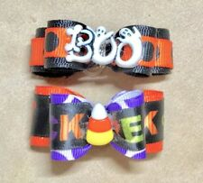 Dog Hair Bows- Halloween Dog Bow Boo & Trick or Treat Candy Corn Embellished Dog