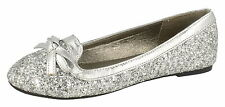 SALE Spot On H2355 Girls Silver Synthetic Glitter Slip on Casual or Party Shoes
