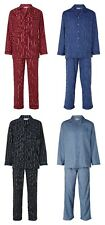 Mens Traditional 100% Cotton Long Sleeve  Button Up Collared Striped Pyjamas