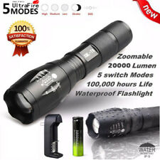 20000Lumens 5 Modes Zoomable Camping Flashlight LED T6 LED +18650 Battery Torch