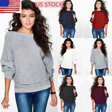 US Womens Long Batwing Sleeve Knitted Sweaters Casual Loose Blouse Tops Pullover