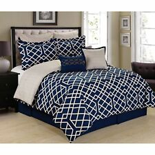 Demetri Navy Blue and White 8-piece Trellis Comforter Set