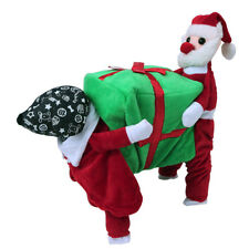 Cat Pet Christmas Costume Clothes Funny Santa Claus Carrying Gift Box Dog Coat