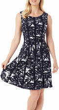 Connected Apparel Womens Leaf Print Panel Dress