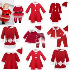 Newborn Baby Girl Christmas Deer Santa Claus Tutu Dress Romper Outfit Costume