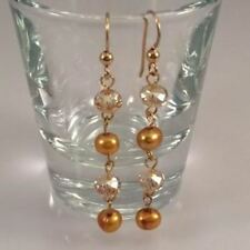 Gold Freshwater Pearl Earrings with Gold Crystals Dangle Bridal Wedding