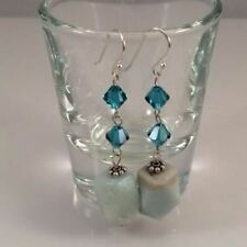 Amazonite and Blue Swarovski Crystals Dangle Earrings Natural Stone Earrings