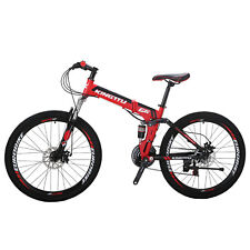 "Kingttu 26"" 21 Speed Folding Mountain Bike Bicycle Full Suspension MTB Foldable"