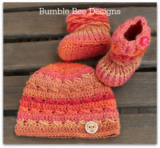 Baby Beanie - Baby Hat - Crochet Hat – Wool Baby Shoes - Crochet Baby Booties