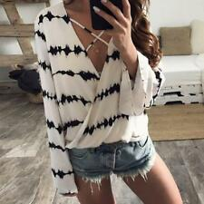 Women's Deep V Neck Stitching T-Shirts Crop Tops Long Flare Sleeve Blouse Shirts