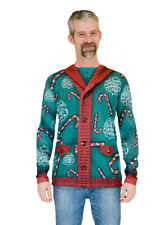 Faux Real Mens Lick My Candy Cane Christmas Sweater Long Sleeve T-Shirt