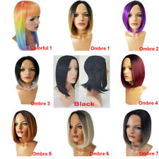 "Ombre Short Bob Hair Wigs 12"" Straight Synthetic Daily Party Wig For Halloween"