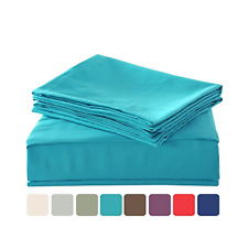 Bed Sheet Set Microfiber Queen Size Deep Pocket Fitted Flat 4 Piece Sheets Sets