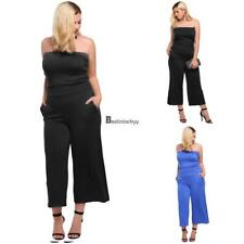 Women's Strapless Solid Wide Leg Casual Pocket One-Piece Jumpsuit Plus BSTY