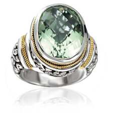 Avanti Sterling Silver and 18k Yellow Gold Green Amethyst Statement Ring