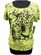 T-Shirt - Tiger Beaded Embellished Citrus Lime Petite Women's Top S, M, L,  XL