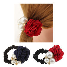 Fashion Pearls Beads Rose Flower Hair Band Rope Scrunchie Ponytail Holder