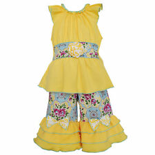 AnnLoren Girls Yellow Cotton Tunic & Floral Damask Capri Set sz 12/18 mo - 9/10