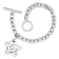 925 Sterling Silver Oval Link with Star Charm Charm Bracelet