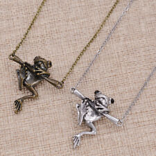 Antique Leaping Punk Frog Animal Unique Necklace Hold Stick Link Chain Pendant