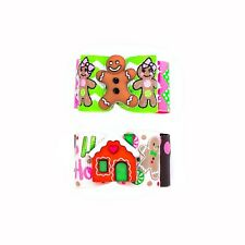 Dog Hair Bows- Christmas Gingerbread Dog Bow Pink and Green Holidays Christmas D