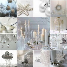 White Collection Christmas Decorations Baubles Stars Cones Hearts Snowflakes