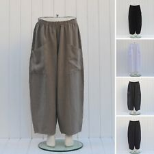 Plus Size 16 18 20 22 24 26 28 30 32 Linen Trousers Lagenlook Made in Italy 9461