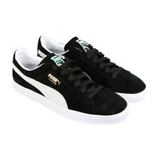 Puma Classic + Mens Black Suede Lace Up Sneakers Shoes
