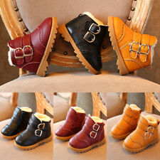 Boys Girls Toddlers Warm Snow Ankle Boots Fur Buckle Soft Sole Boots Shoes Size