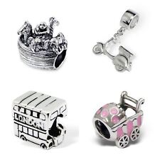 Car Bus Ship Boat Pram Buggy Souvenirs - 925 Sterling Silver Solid Charm Beads