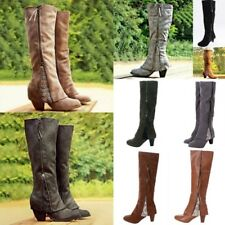 Womens Lace Long Over Knee Boots Zipper Stretch Boots Slim Mid Heels Shoes Size