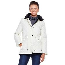 Sporto Quilted Faux Fur Lined Coat Removable hood Drawstring Waist Sz Lg, M, Sm.
